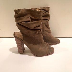 Liliana Slouchy Peep Toe Cut Out Heel Booties 7.5